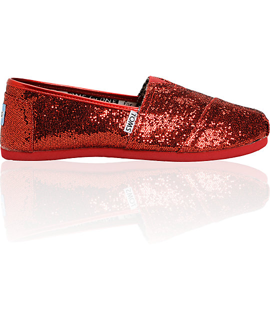 4c0520959fb ... Toms Classic Red Glitter Slip-On Kids Shoes