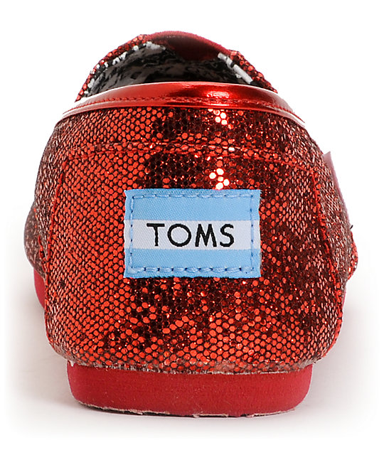 Toms Classic Red Glitter Slip-On Kids Shoes