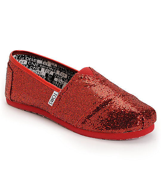62fc2848957 Toms Classic Red Glitter Slip-On Kids Shoes