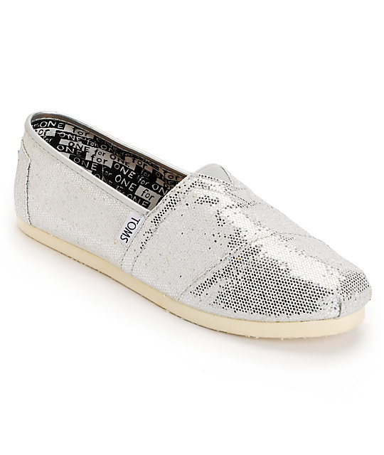 e75ea3f7cb51 Toms Classic Silver Glitter Slip-On Kids Shoes