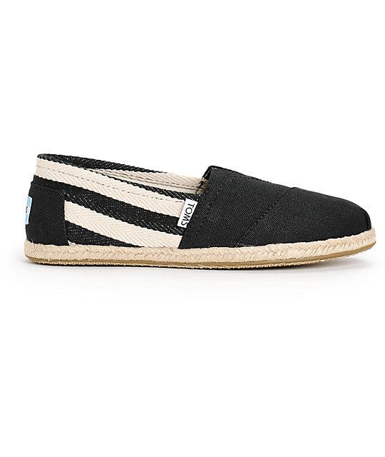 8e8be12138d ... Toms Classic University Black Stripe Women s Shoes