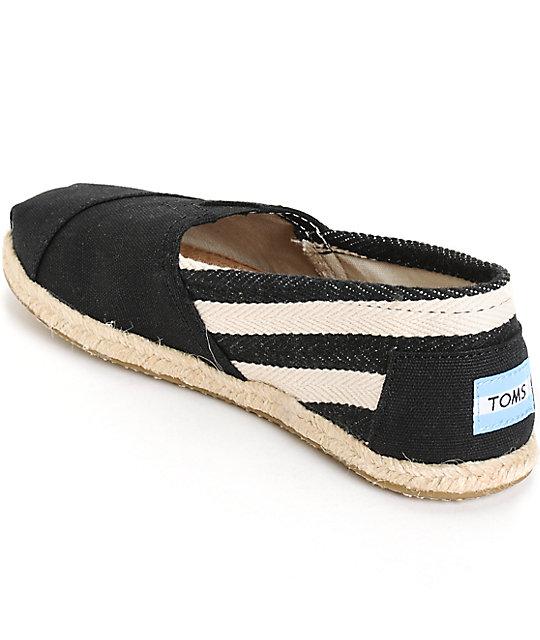 46d269503ad ... Toms Classic University Black Stripe Women s Shoes ...