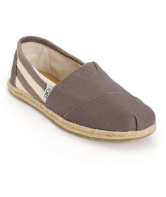 Toms Classic University Grey Stripe Womens Shoes ...