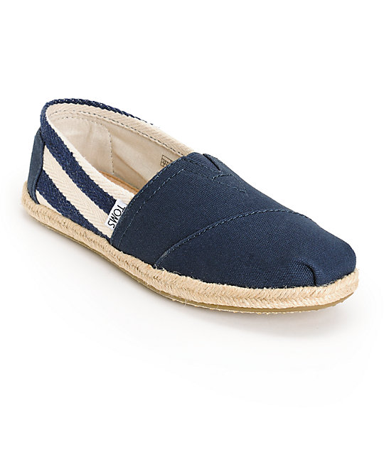 cb0e1fd2d7a Toms Classic University Navy Stripe Women s Shoes