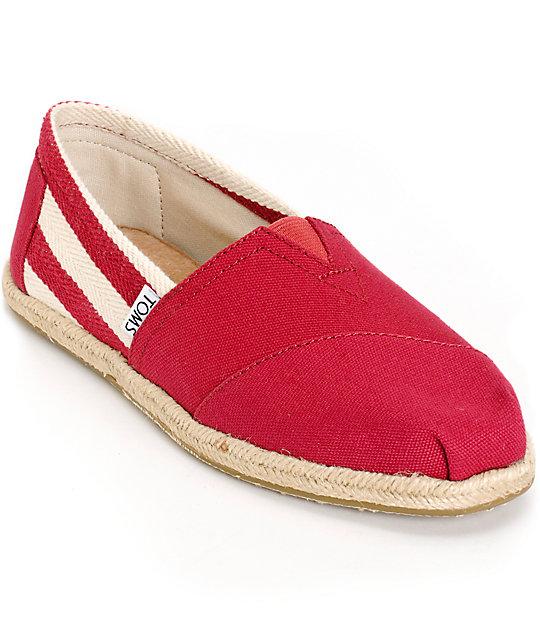 Toms Classic University Red Stripe Women s Shoes  4d3f8a32b
