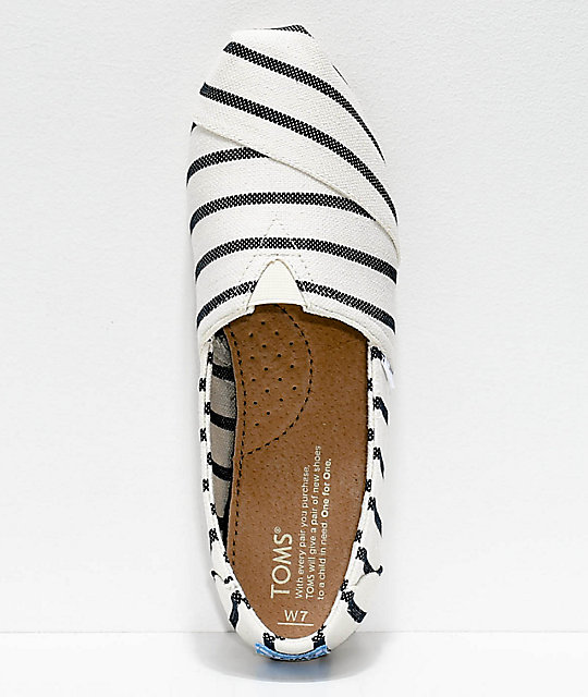 Toms Classic Venice White & Navy Riviera Striped Shoes