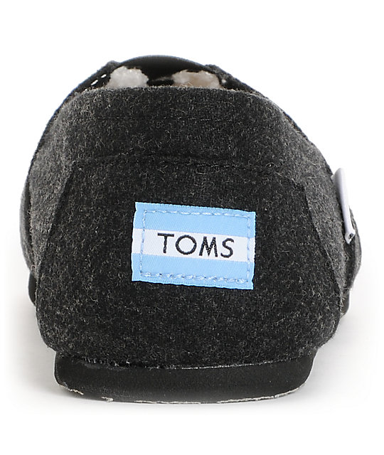 Toms Classics Black Woolen Mens Slip On Shoes