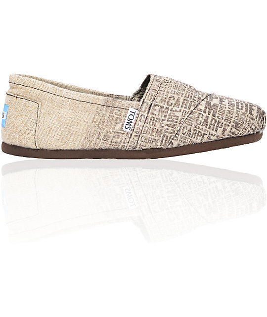Toms Classics Burlap Carpe Diem Womens Shoes