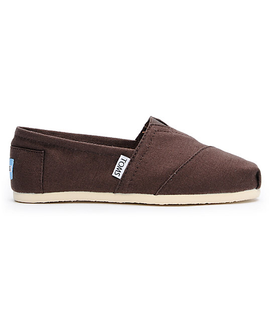Toms Classics Canvas Chocolate Slip-On Womens Shoes