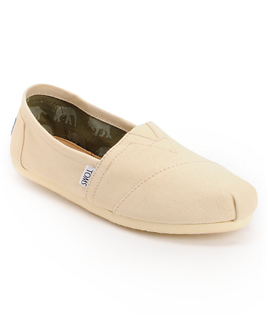 Toms Classics Canvas Natural Slip-On Womens Shoes