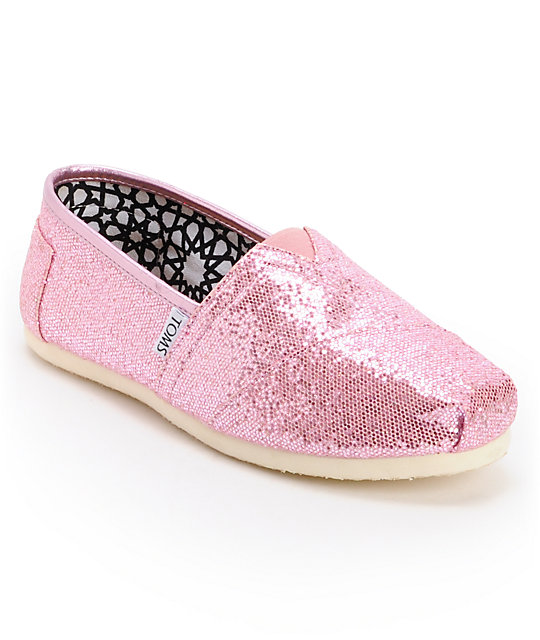 Toms Classics Canvas Pink Glitter Womens Shoes