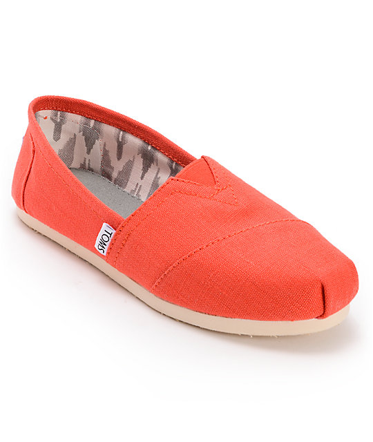 9475ebd751a Toms Classics Earthwise Orange Vegan Womens Slip On Shoes