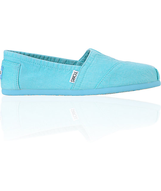 Toms Classics Fluorescent Turquoise Palmetto Canvas Womens Shoes