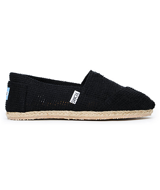 Toms Classics Freetown Perforated Black Canvas Womens Slip On Shoes