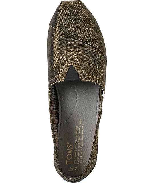 Toms Classics Gold Metallic Vegan Woven Womens Shoes