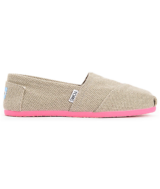Toms Classics Grey Farrin & Pink Womens Slip On Shoes