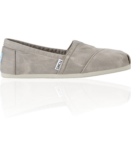Toms Classics Grey Palmetto Canvas Womens Shoes