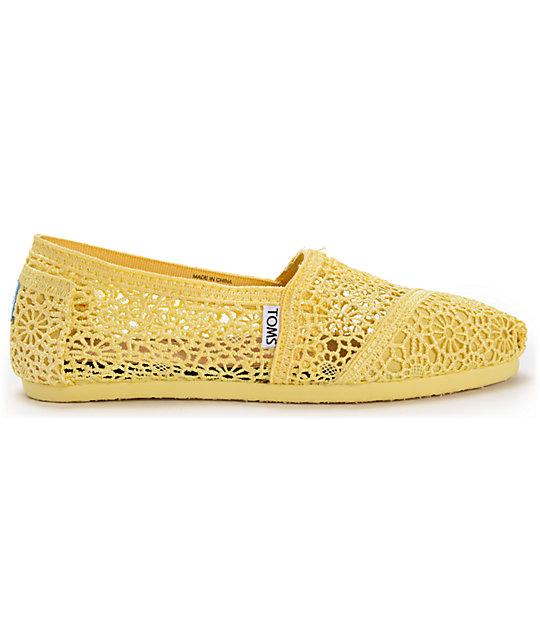 4c82cf8c8c4 ... Toms Classics Lemon Yellow Crochet Womens Slip On Shoes