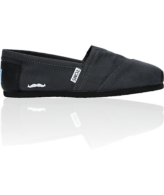 Toms Classics Movember Grey Black Womens Shoes