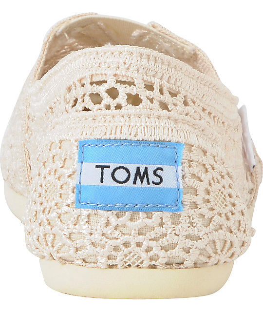 Toms Classics Natural Colored Crochet Women's Slip On Shoes