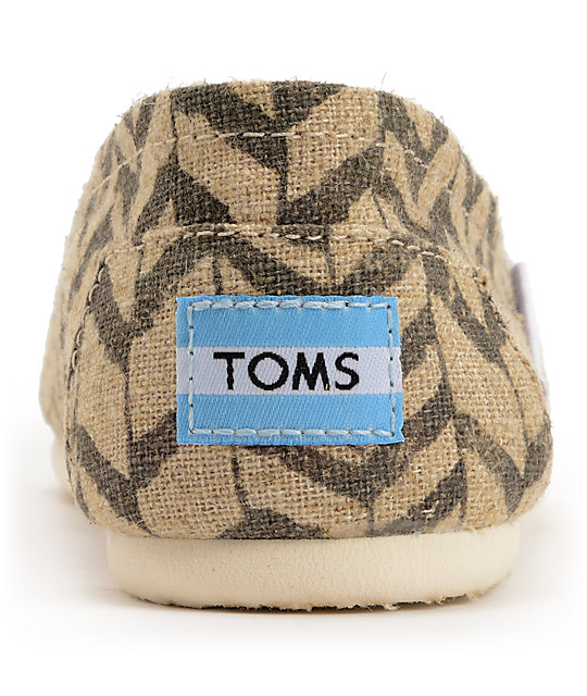 Toms Classics Natural Zebra Zag Womens Slip On Shoes