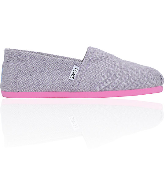 Toms Classics Pink Pop Herringbone Womens Shoes