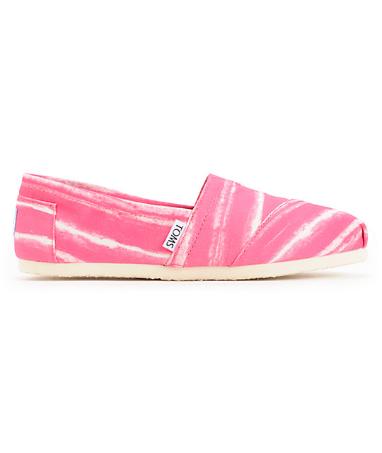 Toms Classics Pink Stripe Womens Slip On Shoes