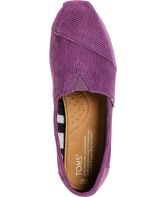 Toms Classics Plum Purple Corduroy Womens Shoes