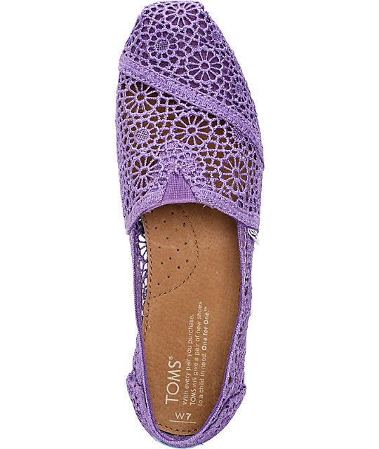 Toms Classics Purple Crochet Womens Slip On Shoes