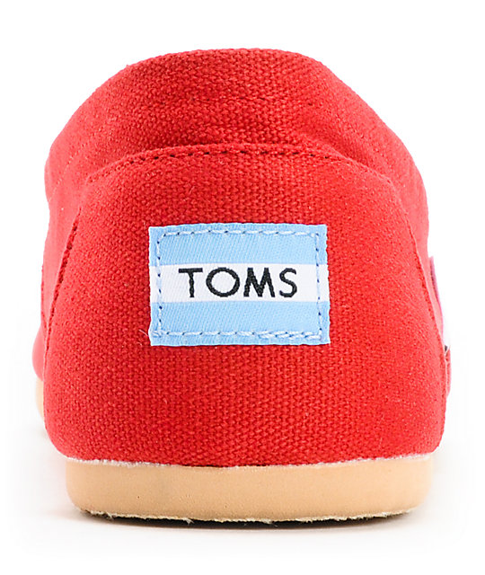 Toms Classics Red Canvas Mens Slip On Shoes