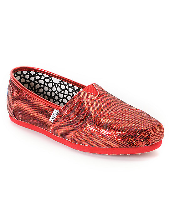 Toms Classics Red Glitter Womens Shoes