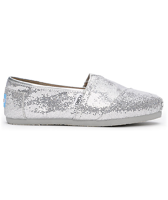 Toms Classics Silver Glitter Slip-On Womens Shoes