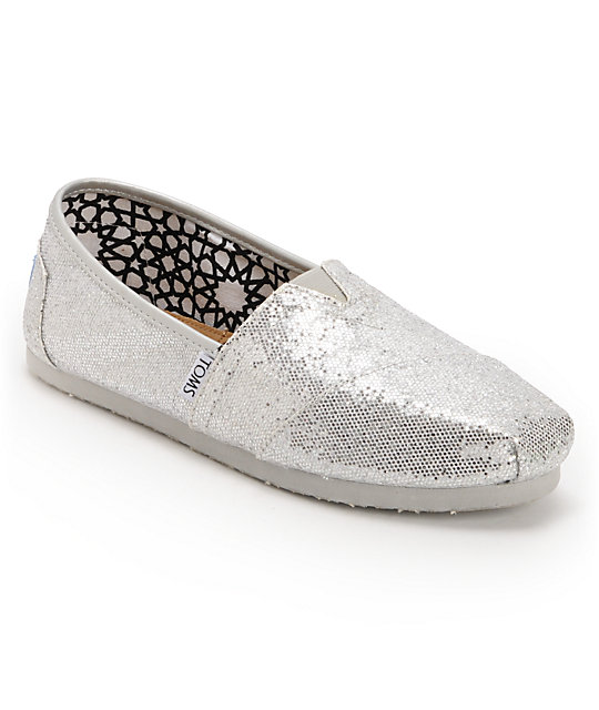 f2883a924fd Toms Classics Silver Glitter Slip-On Womens Shoes