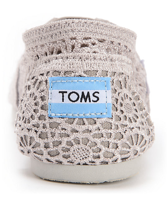Toms Classics Silver Morocco Crochet Womens Slip On Shoes