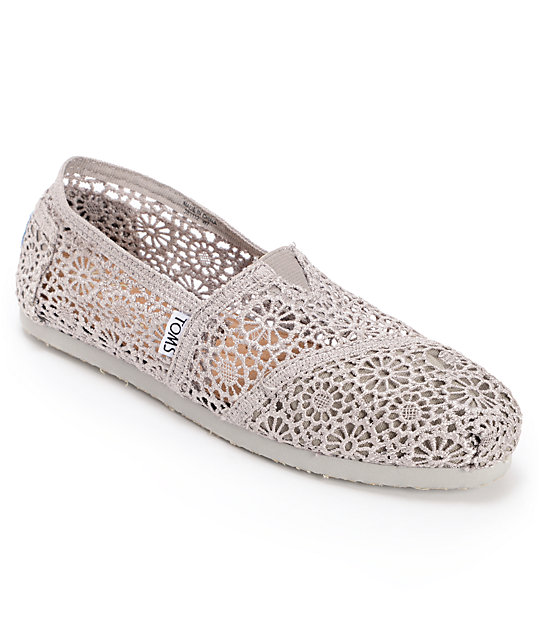 08fa94b0f48 Toms Classics Silver Morocco Crochet Womens Slip On Shoes