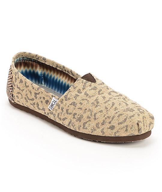 c69c93183c4 Toms Classics Tan Snow Leopard Womens Slip On Shoes