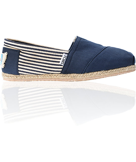 Toms Classics University Navy Stripe Womens Shoes