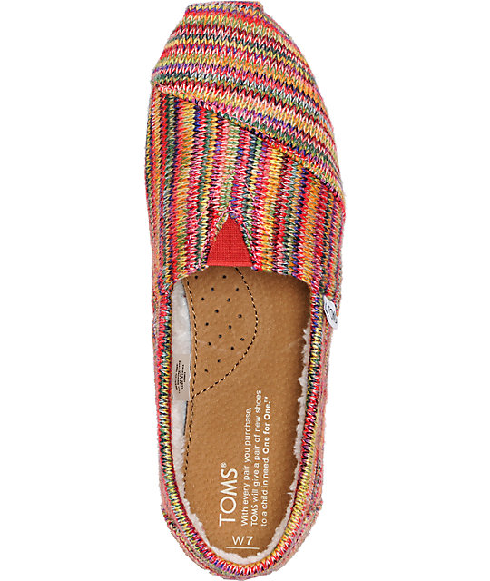 Toms Classics Womens Multi Knit Shearling Shoes