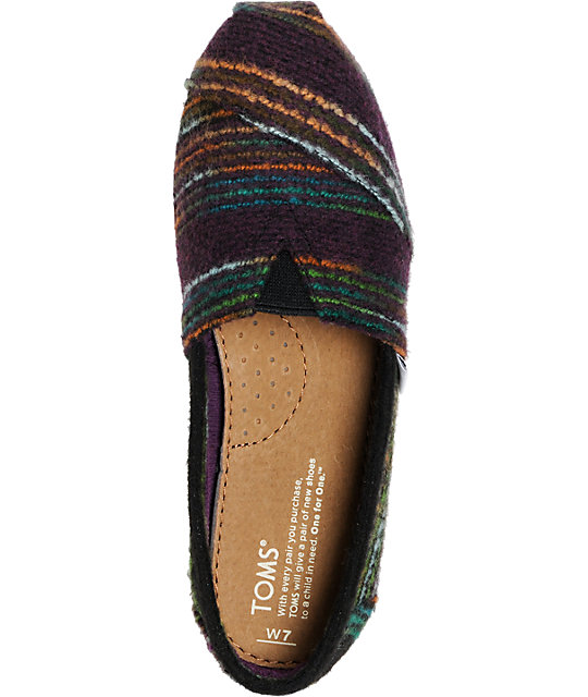 Toms Classics Womens Multicolored Striped Wool Shoes
