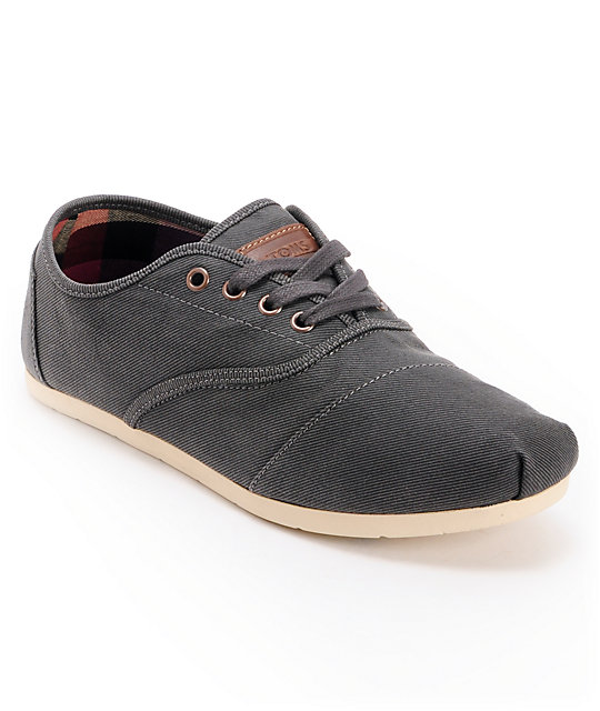 Toms Cordones Ash Twill Waxed Canvas Mens Shoes