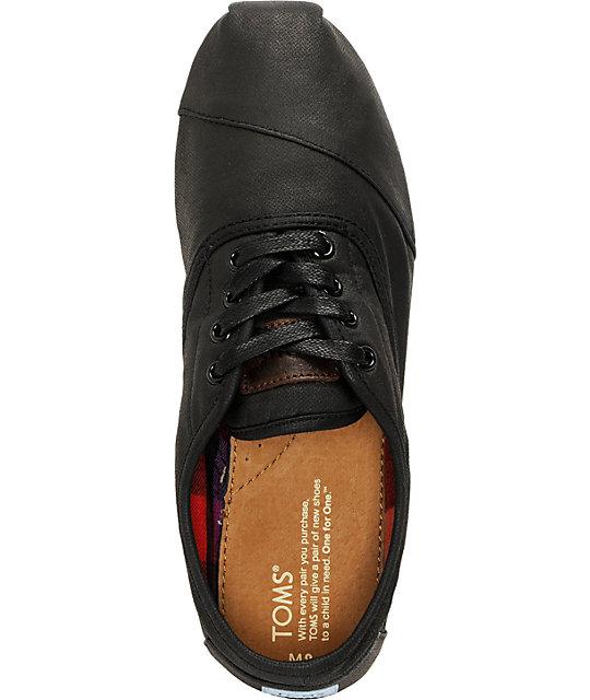 c10e1a72e2d ... Toms Cordones Black Waxed Canvas Mens Shoes ...