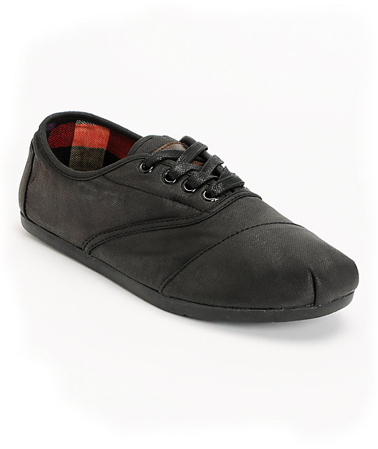 Toms Cordones Black Waxed Canvas Mens Shoes