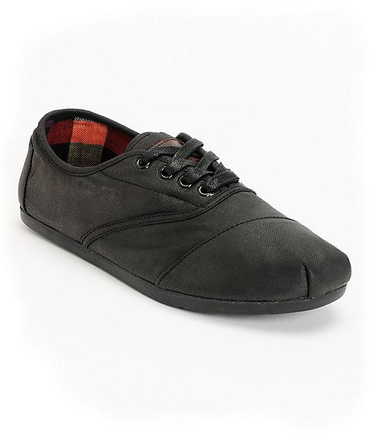 778c81337d3 Toms Cordones Black Waxed Canvas Mens Shoes