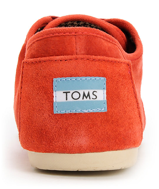 Toms Cordones Red Suede Shoes