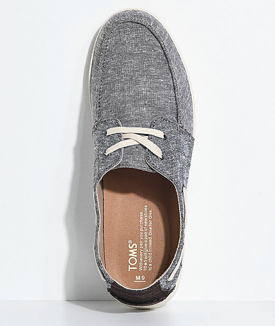 Toms Culver Lace Up Brown & Grey Slub Chambray Shoes
