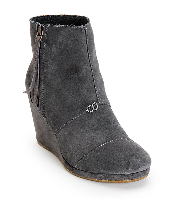 20a1293b70b2 Toms Dark Grey Desert Wedge High Shoes