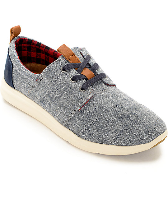 6a9b085edc Toms Del Rey Blue Chambray Womens Shoes