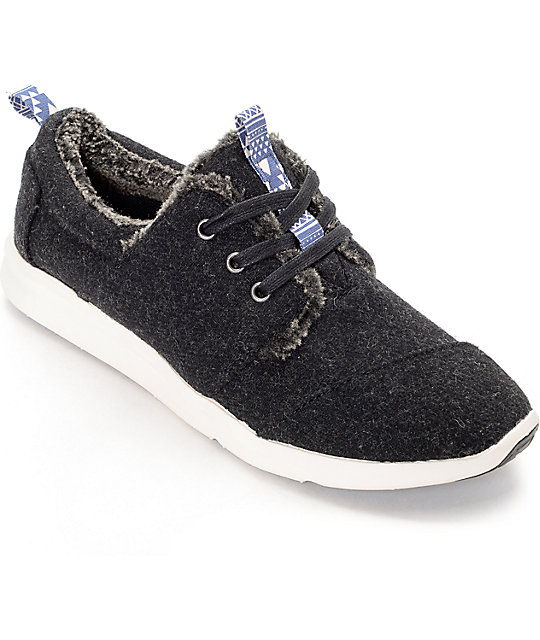 Toms Del Rey Charcoal Wool & Shearling Womens Shoes