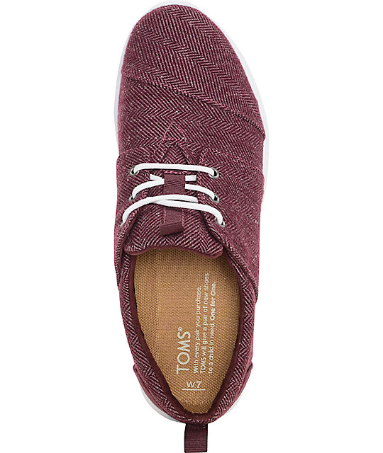 Toms Del Rey Herringbone Burgundy Womens Shoes