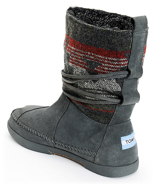 ... Toms Grey Suede Jacquard Womens Nepal Boots ... 85d094592f